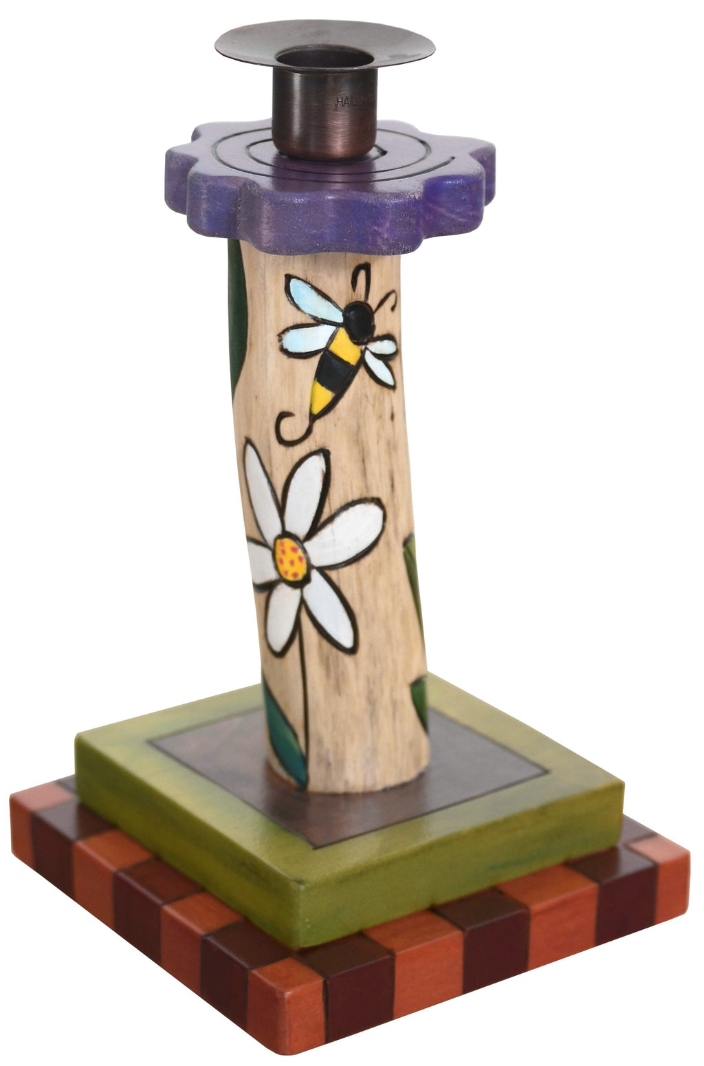 Single Candle Holder –  Single candle holder with flowers and bee motif
