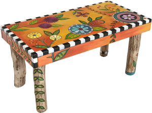 Sticks handmade 3' bench with bright and colorful floral design