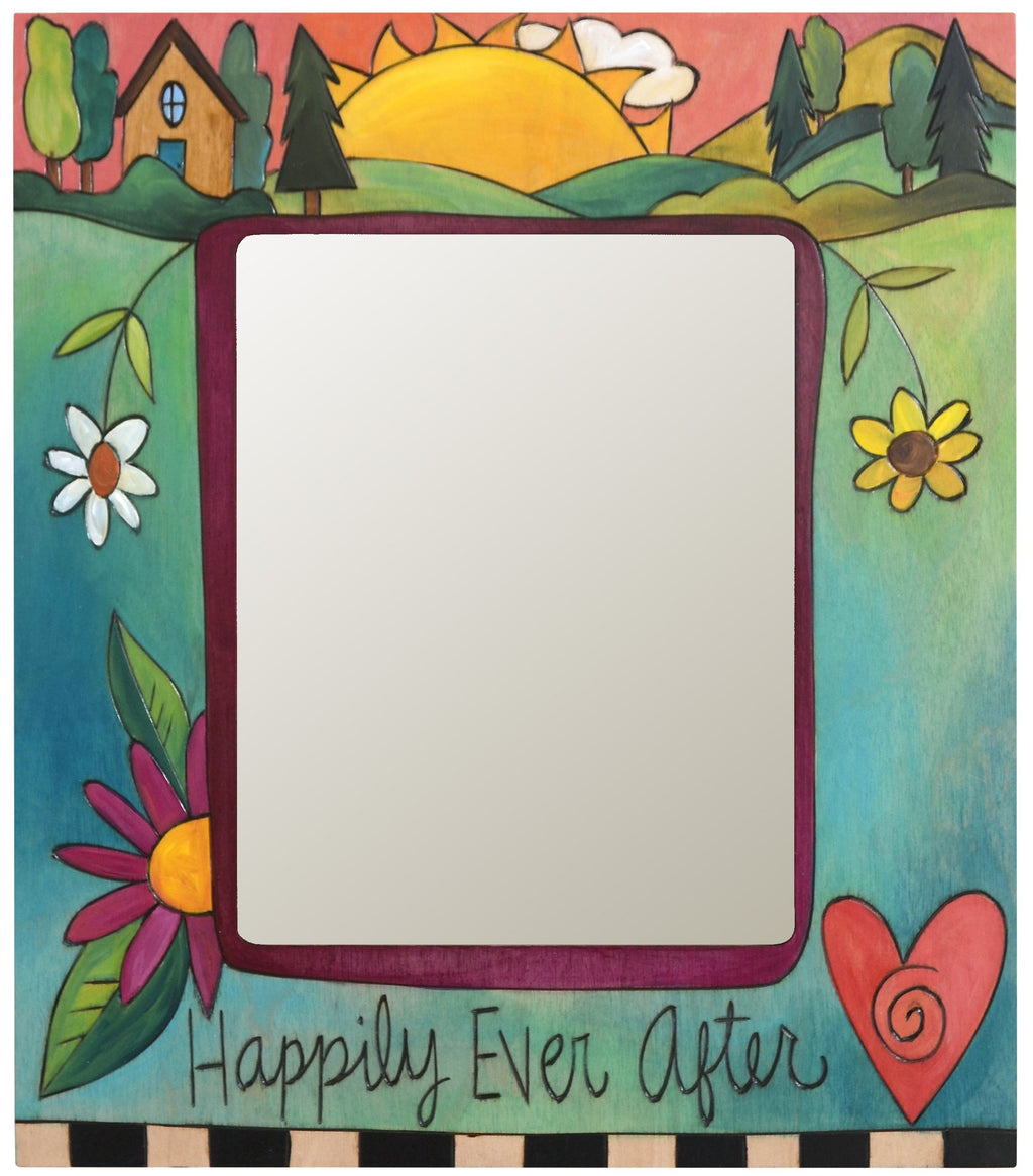 "8""x10"" Frame –  Happily Ever After frame with home and sunset on the horizon motif"