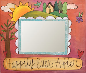 "Sticks handmade 5x7"" picture frame with happily ever after design"