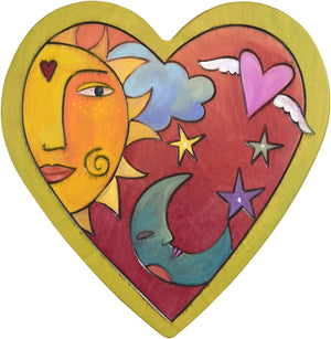 Heart Shaped Plaque –  Heart shaped plaque with sun and moon and heart with wings