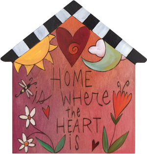 "House Shaped Plaque –  ""Home is Where the Heart is"" house shaped plaque with sun and moon motif"