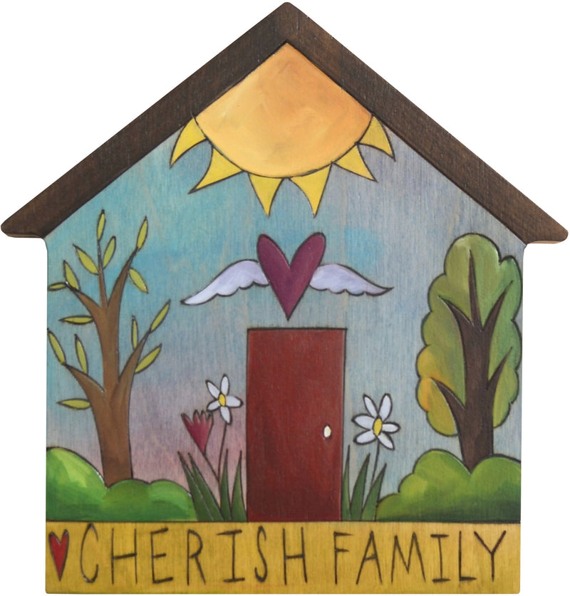 "House Shaped Plaque –  ""Cherish Family"" house shaped plaque with sunny landscape"