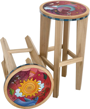 Round Stool Set –  Matching sun and moon stools with natural wooden bases