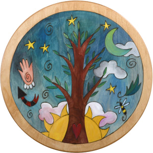 Round Stool –  Natural Tree of Life themed stool with sun and moon motif