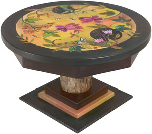 Round Coffee Table –  Lovely round coffee table with floral motifs