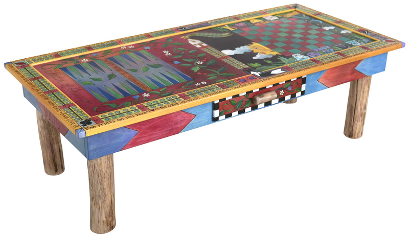 Urban Game Table –  Playful and eclectic folk art game table with many colorfully painted animals and game types
