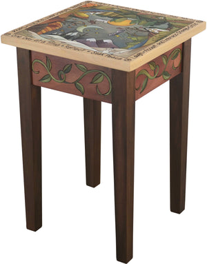 "Small Square End Table –  ""Accept and Embrace Change"" end table with sun and moon over scenes of the changing four seasons motif"
