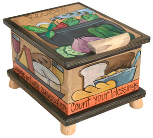 "Recipe Box – ""Count your blessings"" recipe box in an elegant palette"