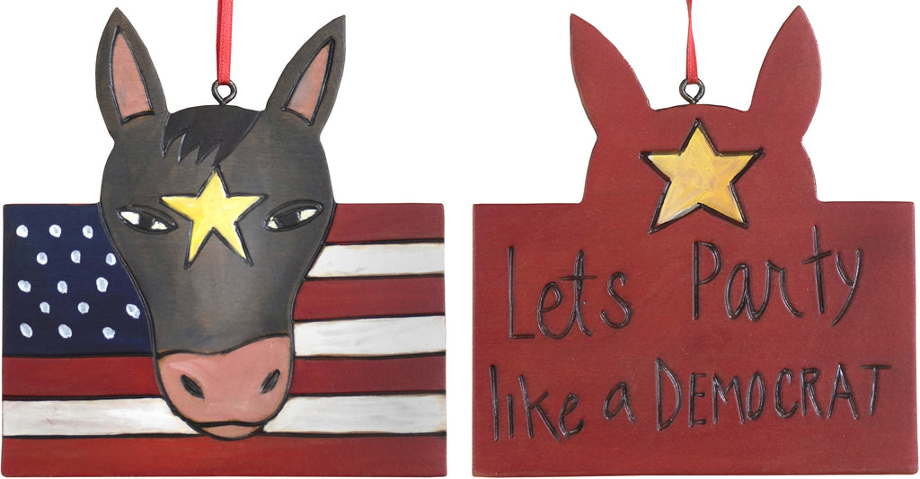"Democrat Ornament –  ""Let's Party like a Democrat"" Democrat ornament with donkey and USA flag motif"