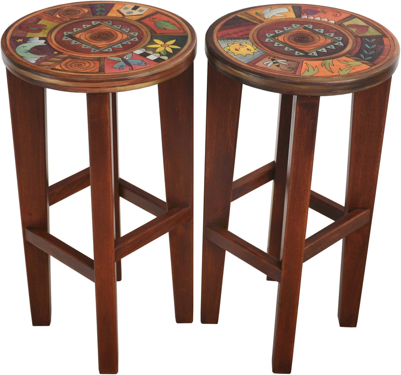 Round Stool Set –  Elegant and rich matching stools with colorful block imagery