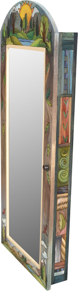 "Jewelry Cabinet –  ""Love Nature"" jewelry cabinet with sunset behind snow-capped mountains motif"