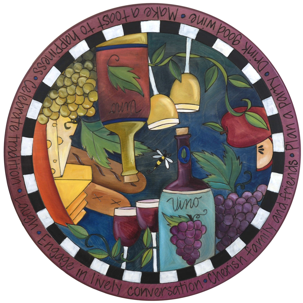 "Sticks Handmade 20""D lazy susan with wine, bread, fruit and cheese"