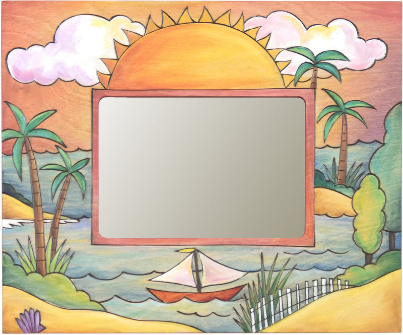 "Sticks handmade 5x7"" picture frame with tropical beach theme"