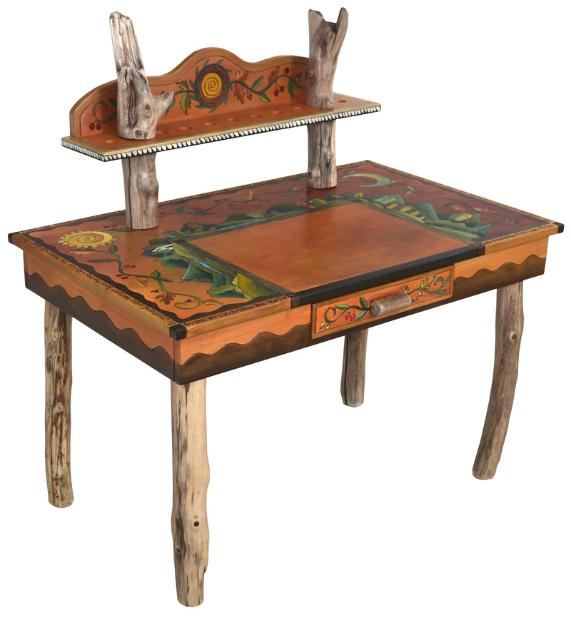 Desk with Shelf –  Beautiful mountain landscape desk with colorful vine motifs, featuring and drawer and shelf for storing supplies