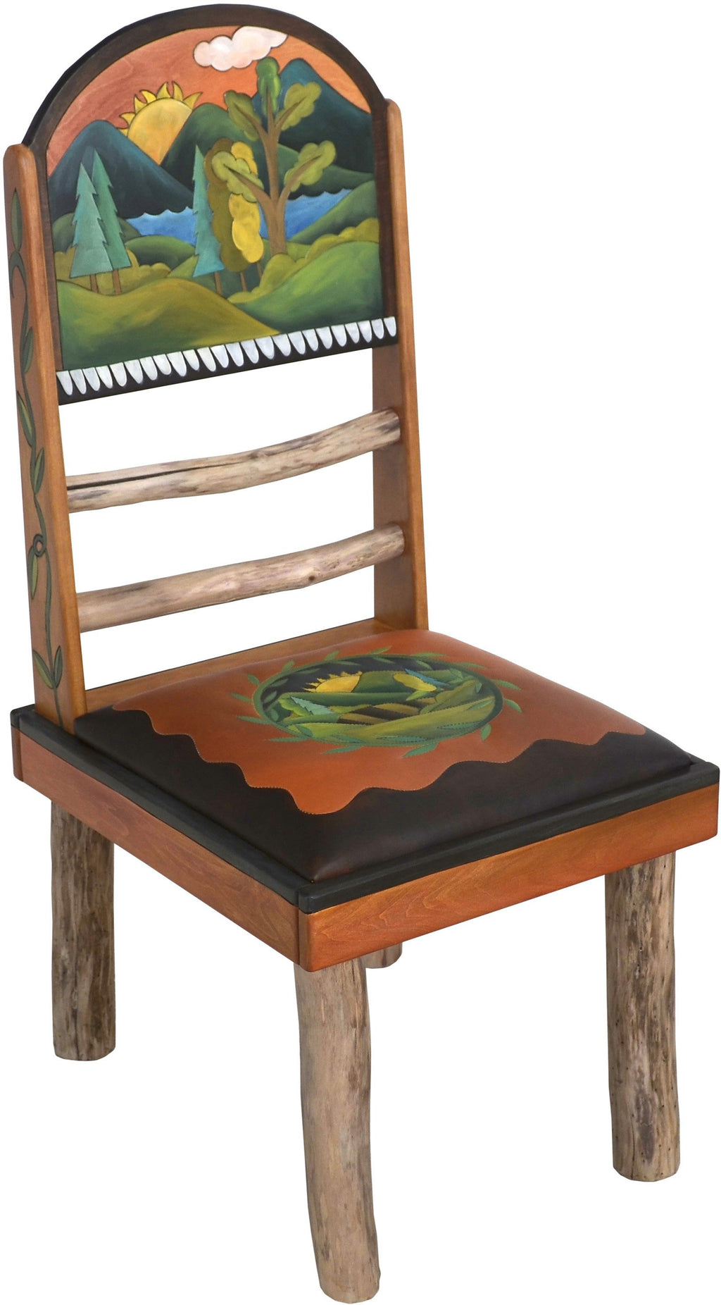 "Sticks Side Chair with Leather Seat –  Lovely chair with hand embroidered seat and rolling mountain landscapes, ""Sit"""
