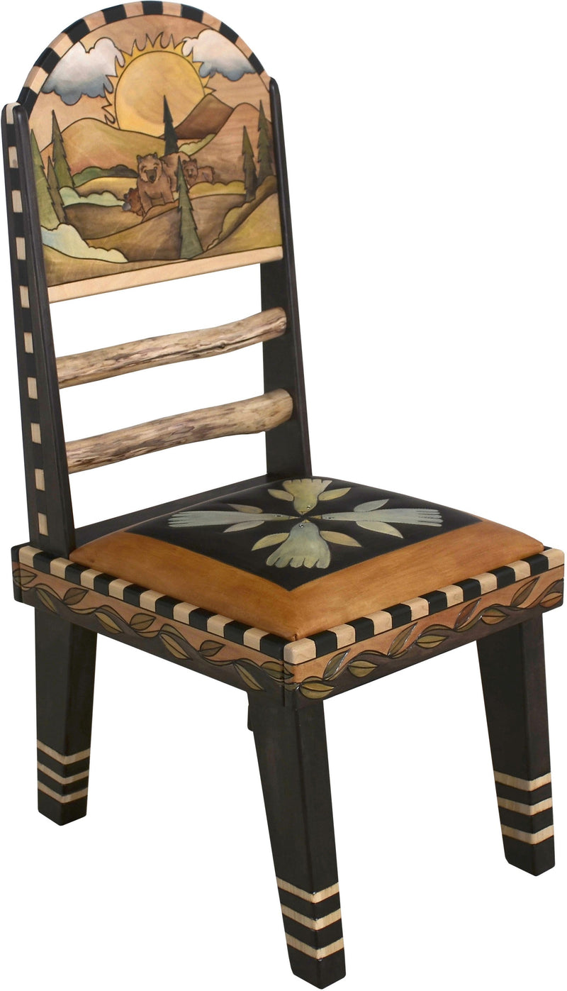 Sticks Side Chair with Leather Seat –  Gorgeous elegant and neutral chair with hand embroidered seat and rolling mountains landscapes