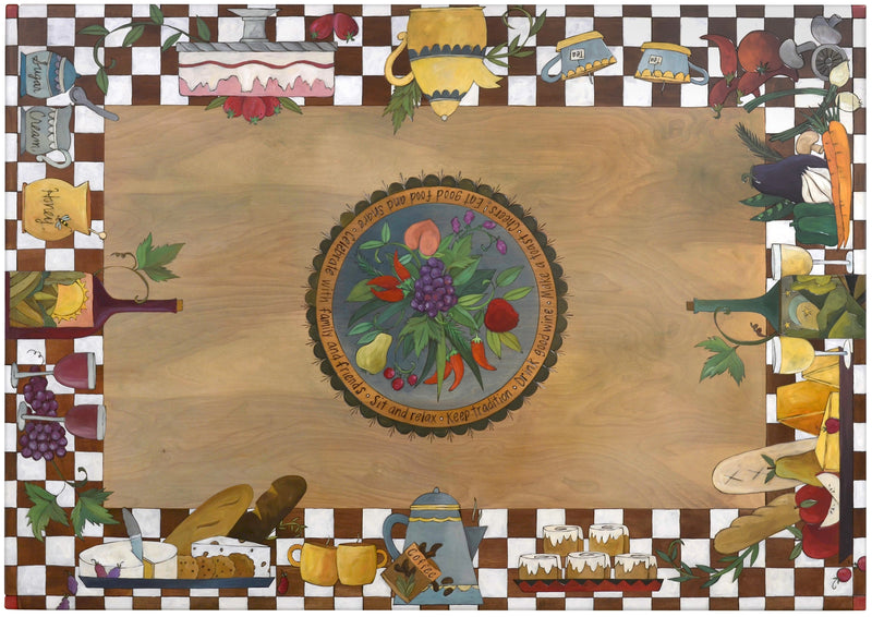 Rectangular Dining Table –  Eclectic folk art table with playful banquet design