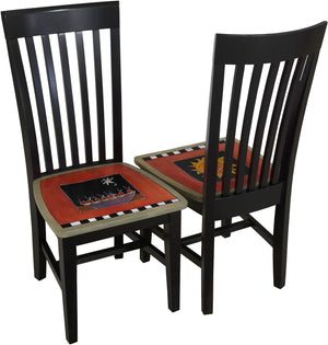 Sticks handmade chairs with colorful folk art design and floral scratchboard border