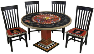 Sticks handmade dining table with colorful folk art design and floral scratchboard border with matching chairs