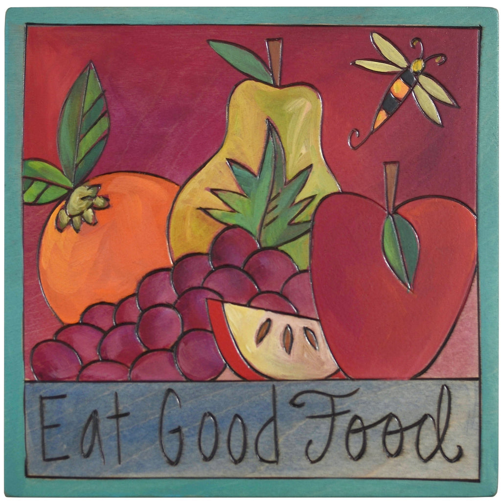 "Sticks handmade wall plaque with ""Eat Good Food"" quote and fruit with bee imagery"