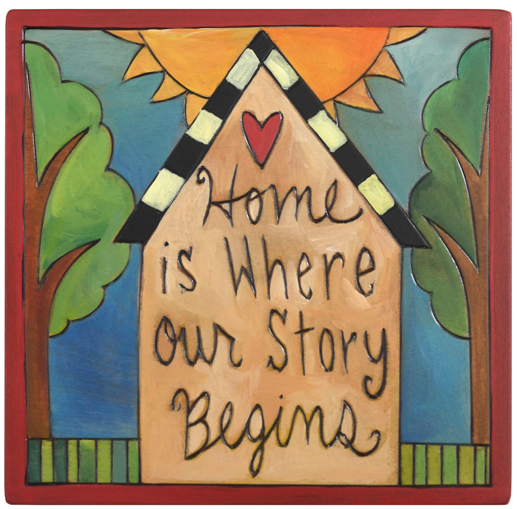"Sticks handmade wall plaque with ""Home is where our story begins"" quote and imagery"