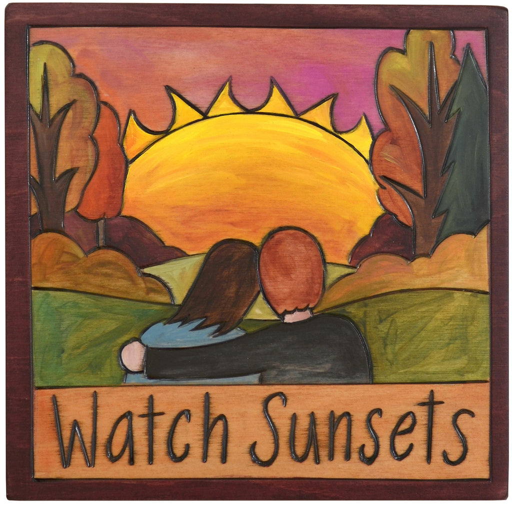 "Sticks handmade wall plaque with ""Watch Sunsets"" quote and couple at sunset in the fall imagery"