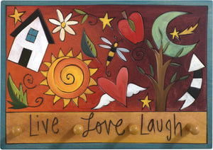 "Horizontal Key Ring Plaque –  ""Live, Love, Laugh,"" playful floating icons key ring plaque"