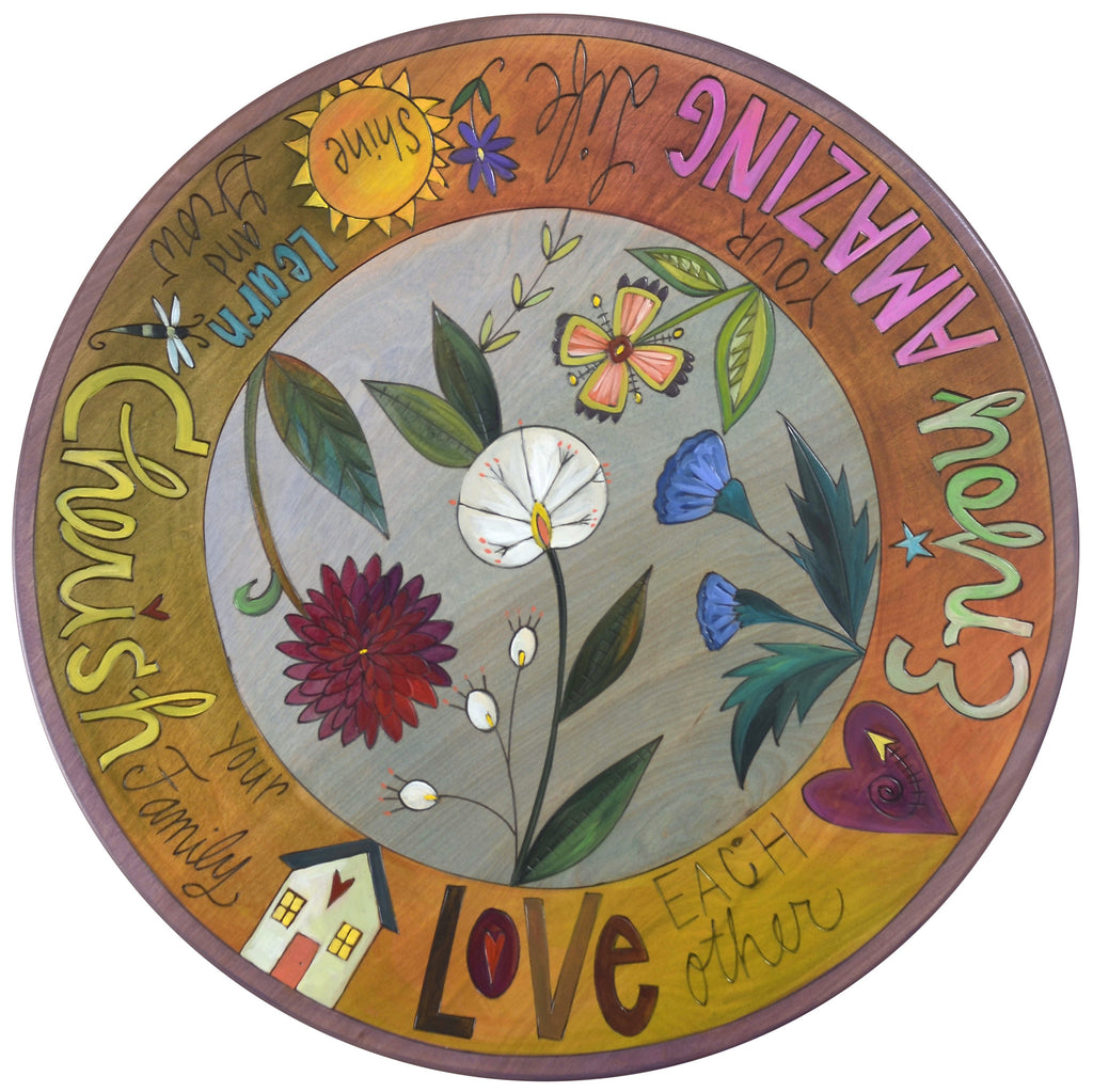 "Sticks Handmade 20""D lazy susan with flowers and inspirational words"