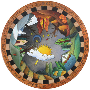 "Sticks Handmade 20""D lazy susan with a four seasons landscape"