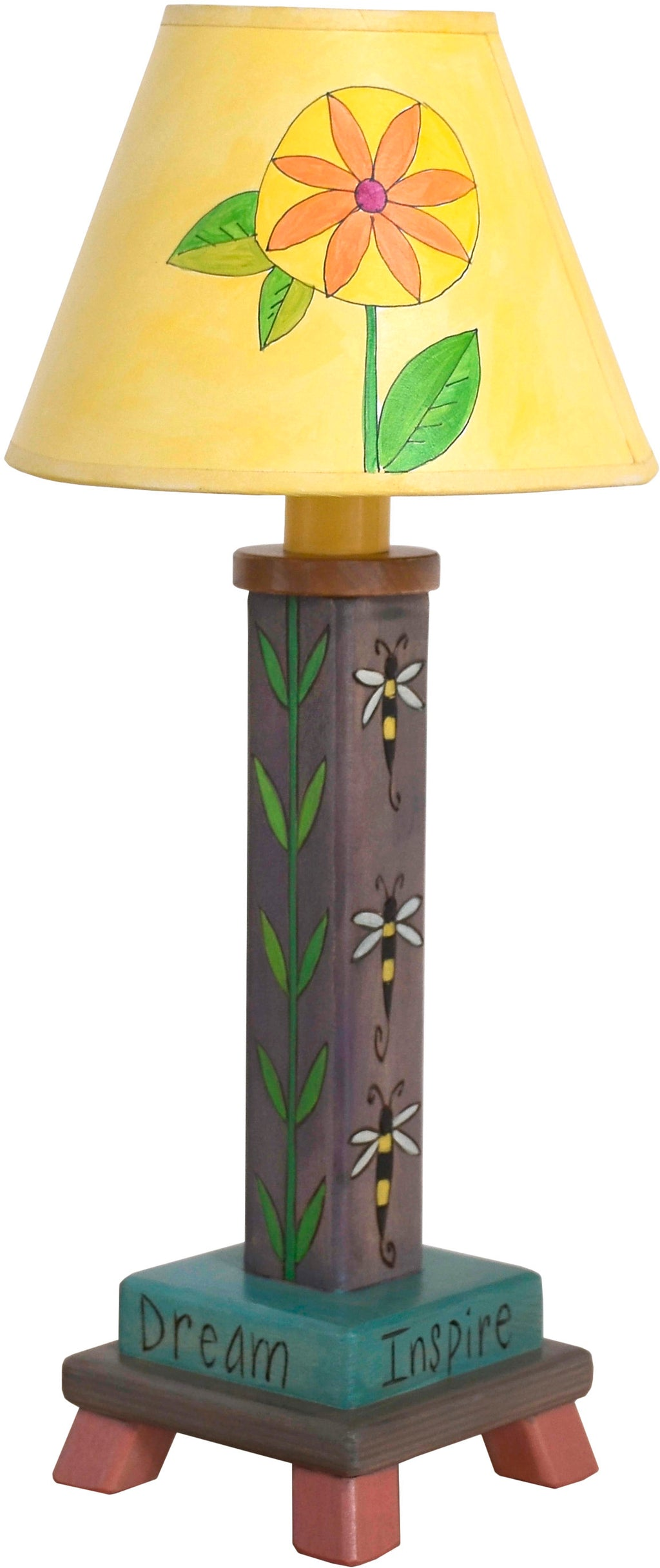Milled Candlestick Lamp –  Beautiful contemporary floral lamp motif featuring bees buzzing about