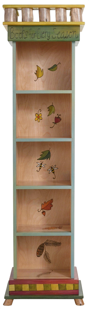 Tall Bookcase –  Lovely rolling landscapes bookcase with four seasons motifs