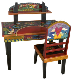 Desk with Shelf –  Eclectic and colorful folk art desk with floating symbolic elements and shelf