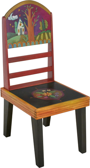 "Sticks Side Chair –  Eclectic folk art chair with tree of life landscape and floral motifs, ""Follow Your Heart"""
