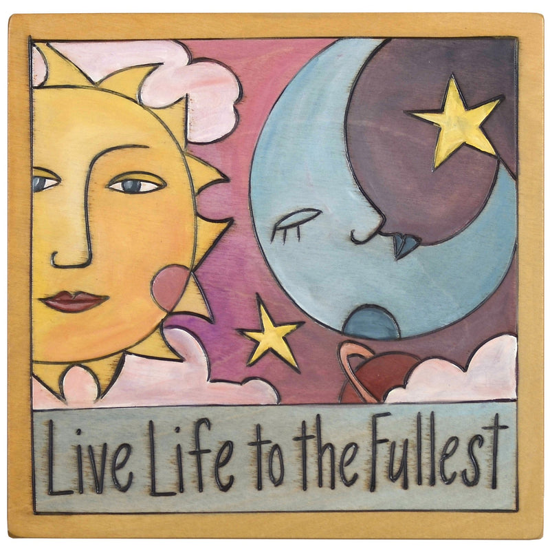 "Sticks handmade wall plaque with ""Live life to the fullest"" quote and sun, moon, planet and stars imagery"