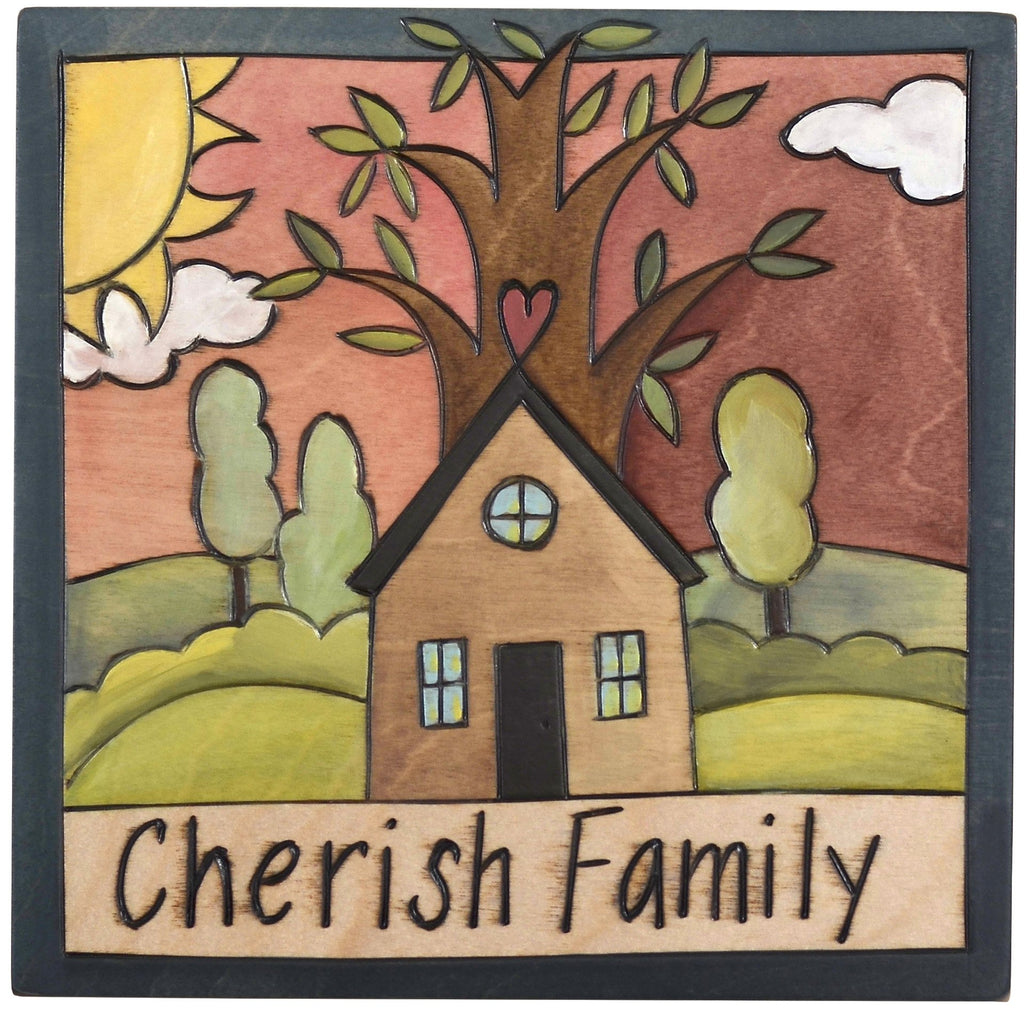 "Sticks handmade wall plaque with ""Cherish Family"" quote and tree of life home landscape"