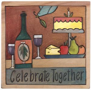"Sticks handmade wall plaque with ""Celebrate together"" quote and food theme with wine, cheese, fruit and cake"
