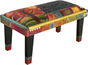 Sticks handmade 3' bench with leather and contemporary folk art design