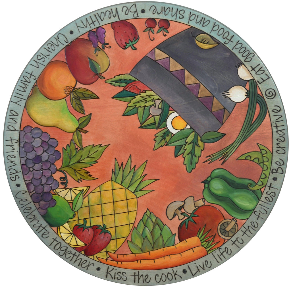 "Sticks Handmade 20""D lazy susan with fruits, vegetables, and salad"