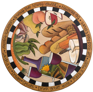 "Sticks Handmade 20""D lazy susan with wine, bread, fruit, vegetables and cheese"