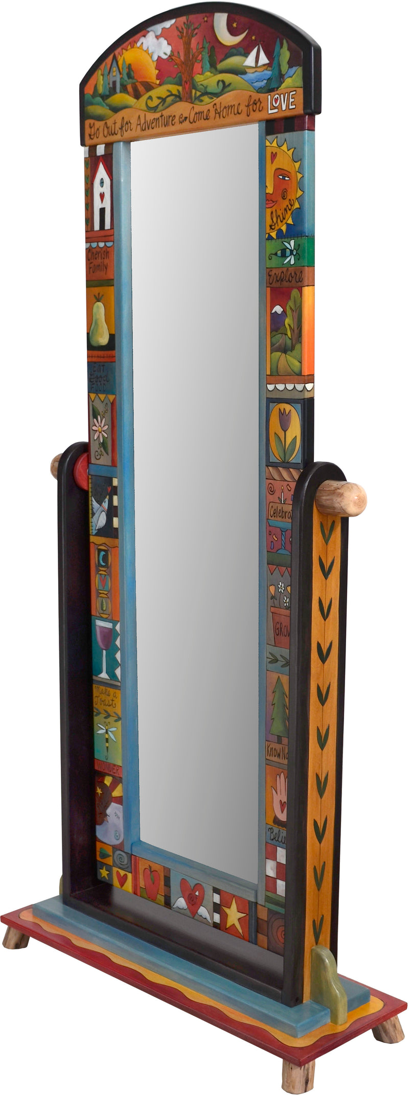 "Wardrobe Mirror on Stand –  ""Go Out for Adventure/Come Home for Love"" mirror on stand with sun and moon over the tree of life motif"