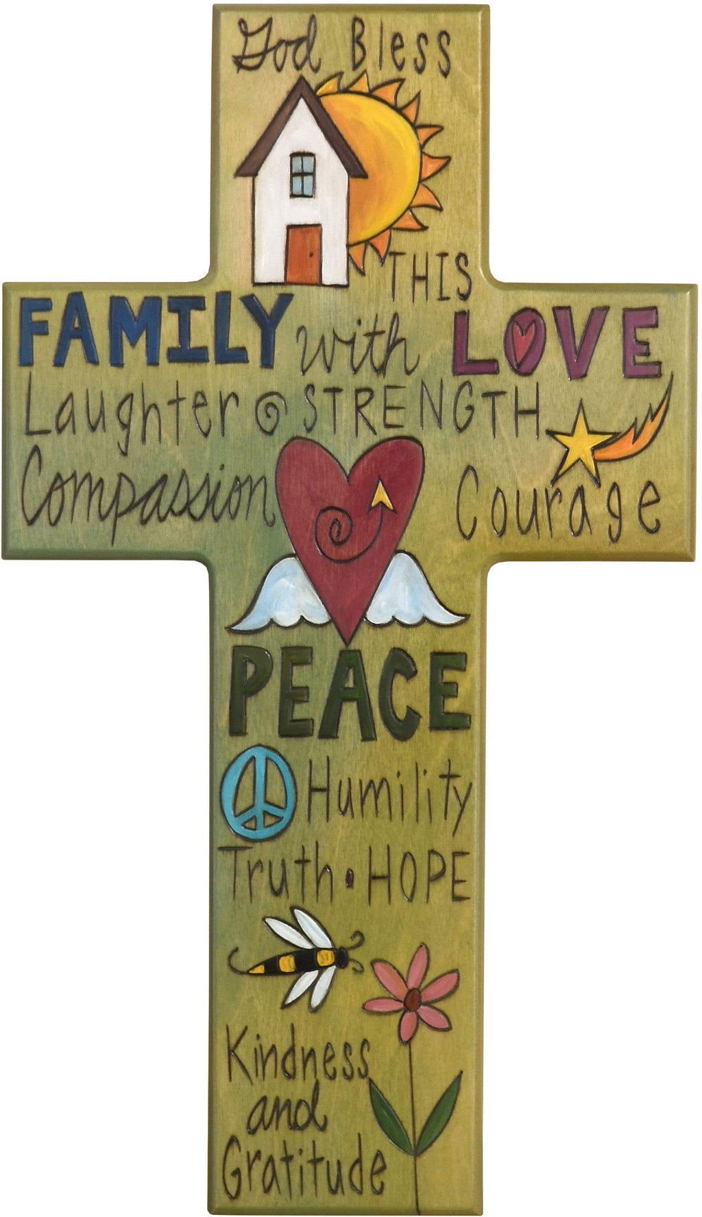 Cross Plaque – Family/Love/Peace cross plaque with green themed words and home motif