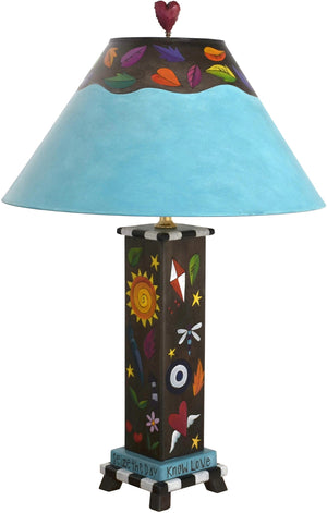 Box Table Lamp –  Contemporary and colorful table lamp with floating symbolic icons