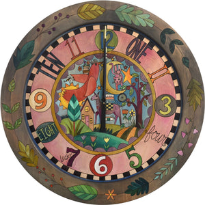 "Sticks handmade 36""D wall clock with colorful folk art design"