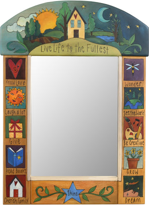 "Medium Mirror –  ""Live Life to the Fullest"" mirror with sunset and moon on the horizon motif"