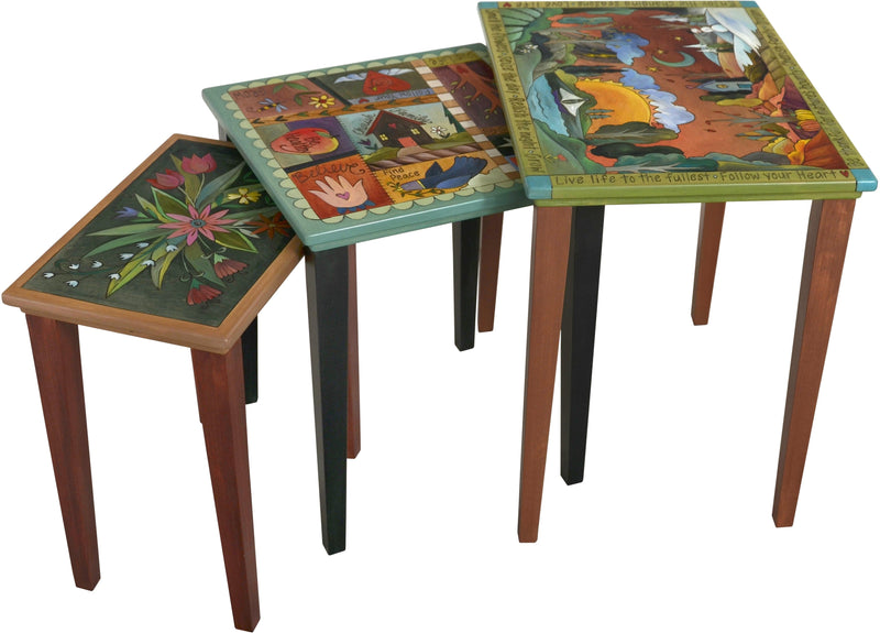 "Nesting Table Set –  ""Enjoy the Changing Seasons"" nesting table set with sun and moon over a beautiful landscape of the four seasons motif"