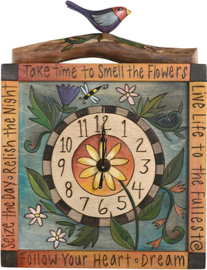 "Square Wall Clock –  ""Take TIme to Smell the Flowers"" wall clock with flower and bird motif"