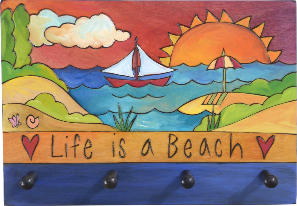 "Horizontal Key Ring Plaque –  ""Life is a Beach,"" coastal themed key ring plaque with sunrise"