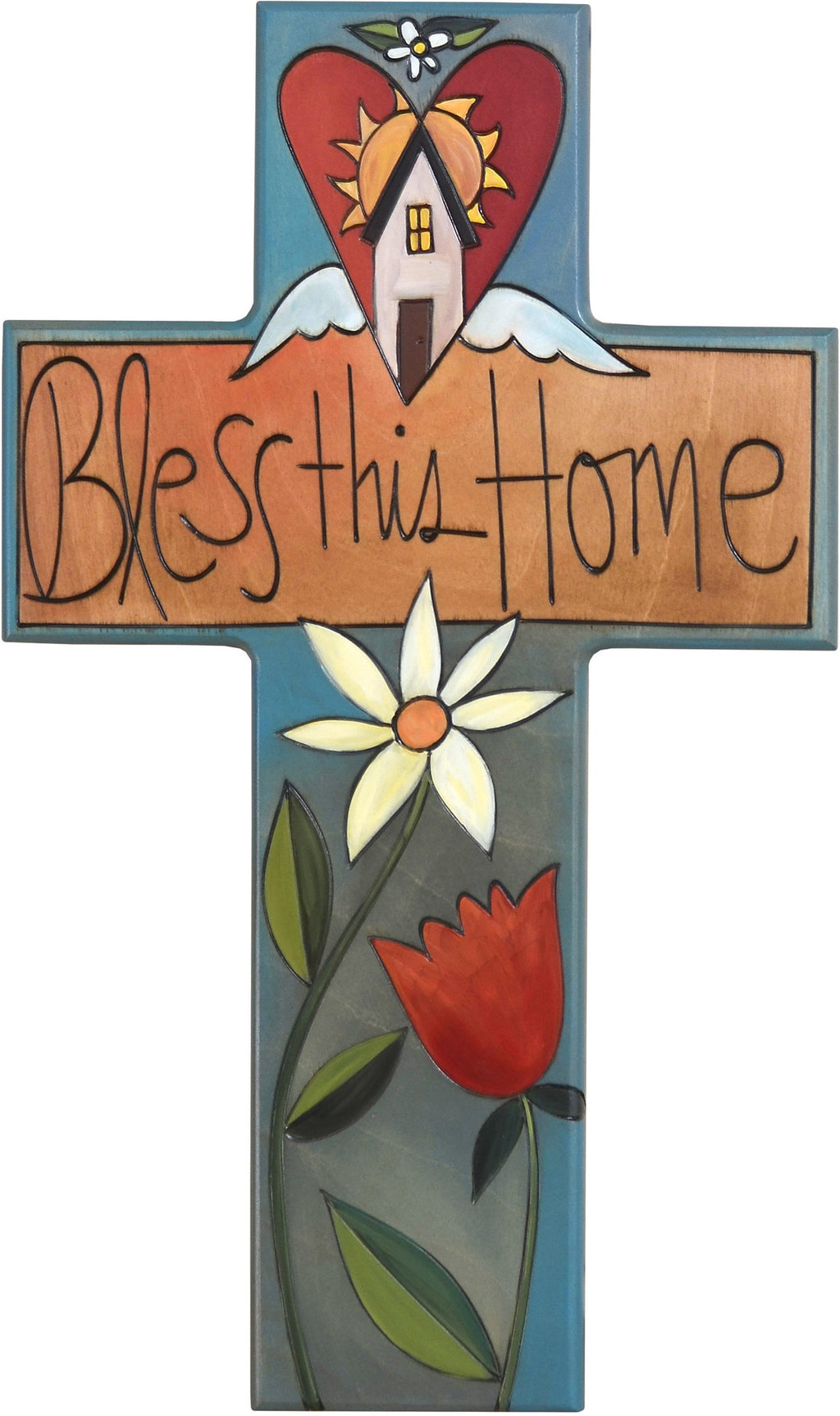 Cross Plaque –  Bless this Home cross plaque with home and flower motif