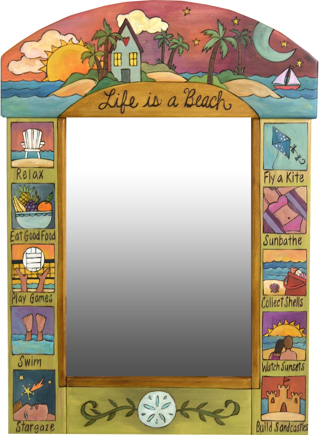 "Medium Mirror –  ""Life is a Beach"" mirror with sunset on a tropical island motif"